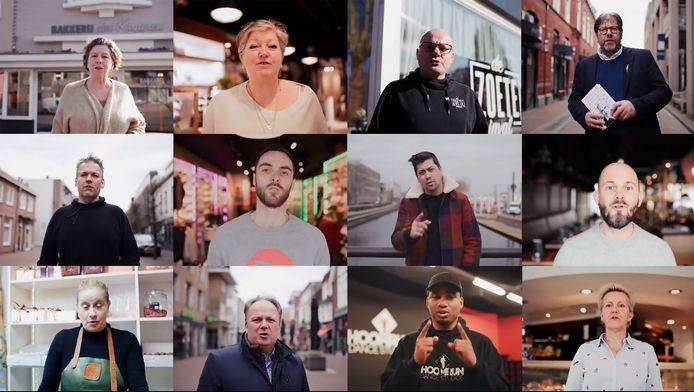 Beeld uit het Helmondse support your locals-filmpje met tussen lokale ondernemers op de onderste rij, tweede van links wethouder Serge van de Brug.
