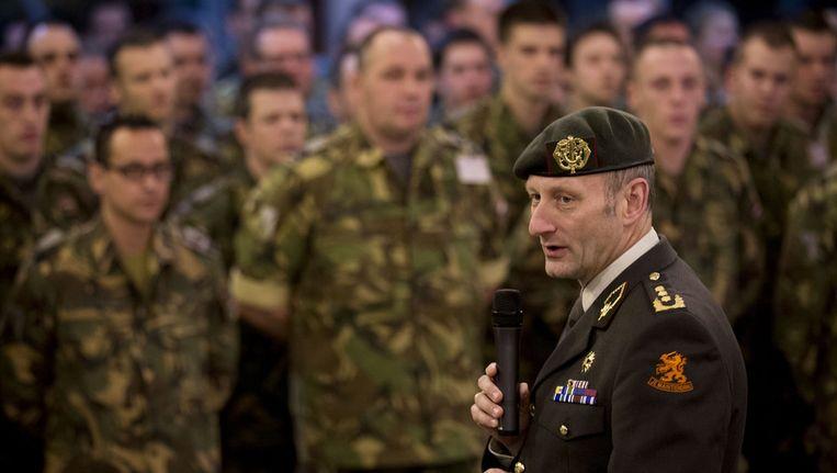 Militairen worden begin dit jaar toegesproken door generaal Mart de Kruijff vooraf aan de Patriotmissie in Turkije. Beeld anp