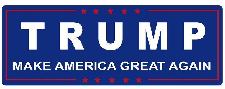Een bumpersticker van Trump-aanhangers. Beeld -