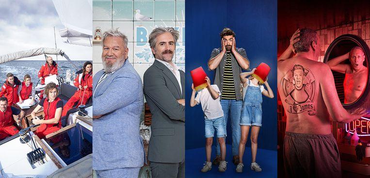 Een greep uit het aanbod: 'Over de Oceaan', 'Bake Off Vlaanderen', 'Opvoeden doe je zo' en 'Gert Late Night'.  Beeld SBS Belgium