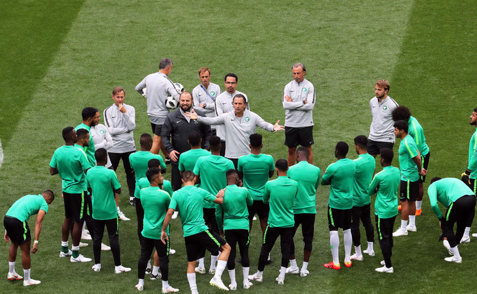 De Saoedische ploeg is in Moskou gearriveerd, waar donderdag het duel met Rusland wacht.