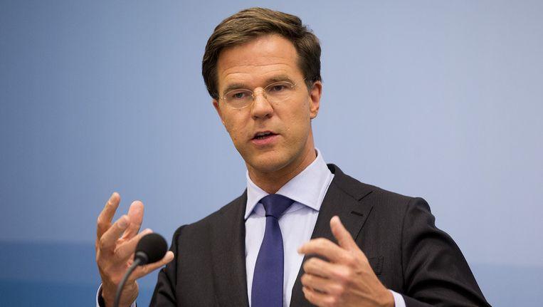 Premier Mark Rutte tijdens de persconferentie na de laatste ministerraad voor het zomerreces, half juli. Beeld anp