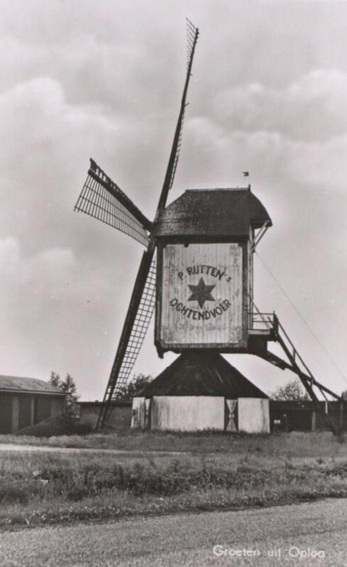 De molen in Oploo op een oude ansichtkaart.