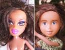Na de verwijdering van de make-up is de metamorfose compleet.