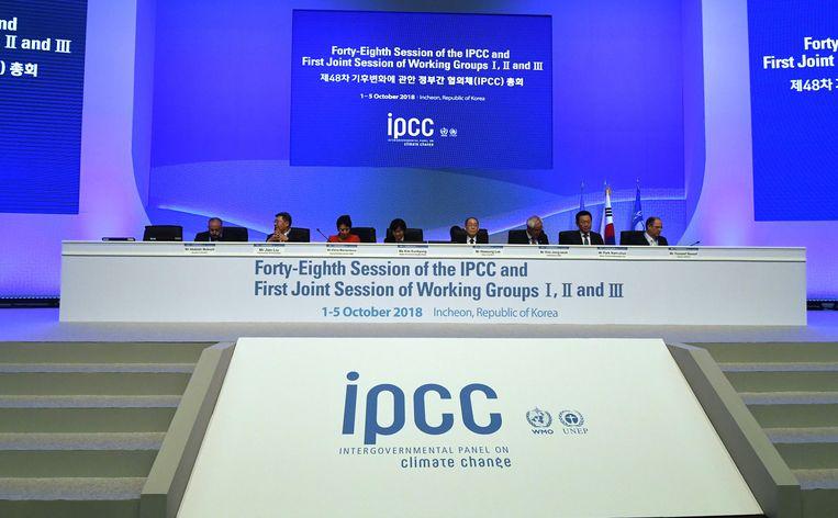 De opening van de 48ste sessie van het Intergovernmental Panel on Climate Change (IPCC) eerder dit jaar.  Beeld AFP