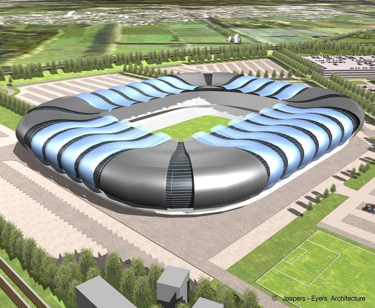 Een van de schetsen van wat het nieuwe stadion van Club Brugge moet worden. Beeld Jaspers - Eyers Architecture