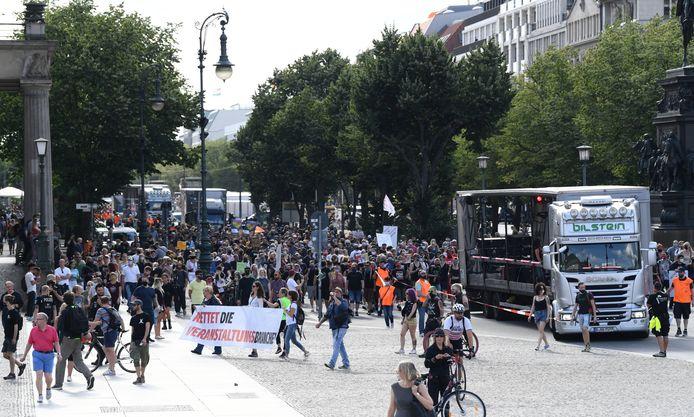 Een recent protest in Berlijn.