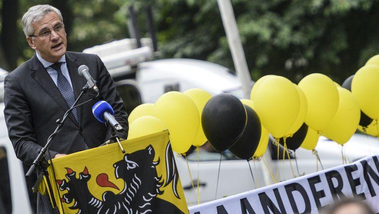 Kris Peeters pleitte in zijn speech voor een sterker Vlaanderen. Beeld BELGA