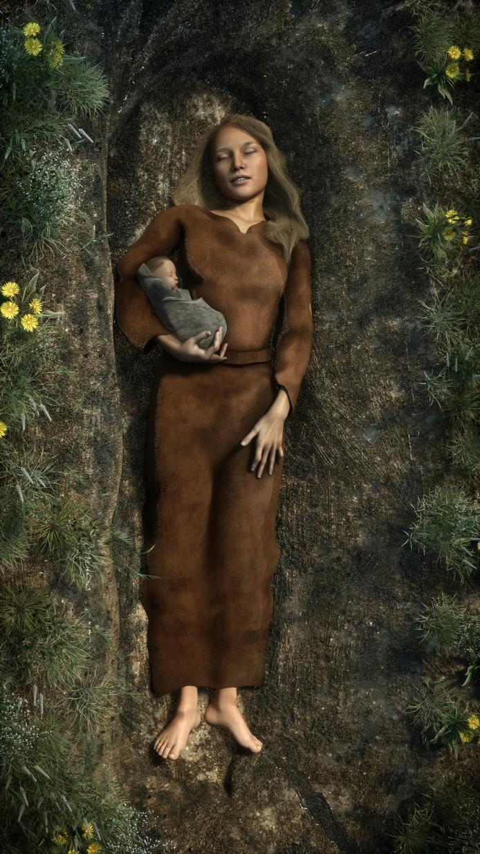 Een reconstructie van de moeder met haar dochter zoals ze 6000 jaar geleden moeten zijn begraven.