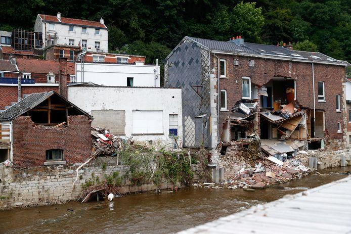 Ook in Pepinster raakten veel woningen beschadigd door het noodweer in juli.