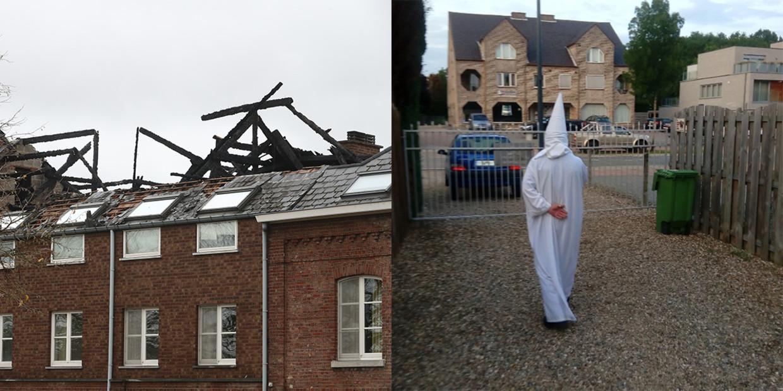 Het afgebrande asielcentrum in Blizen, rechts verdachte E.M. Beeld Belga
