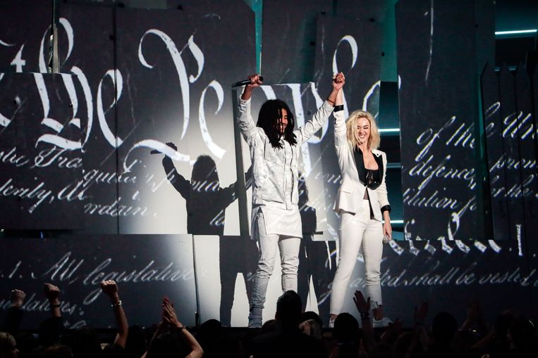 September 12, 2017 - Los Angeles, California, United States: - Singer Katy Perry and Skip Marley perform .Chained To the Rhythm. at the 59th Annual GRAMMY Awards at STAPLES Center in Los Angeles, CA. Sunday, February 12, 2017. (Robert Gauthier / Los Angeles Times/Polaris) © PHOTO NEWS / PICTURES NOT INCLUDED IN THE CONTRACTS  ! only BELGIUM ! *** local caption *** 05741014 Beeld Photo News