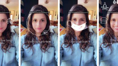 Snapchat ontwikkelt 'coronafilters' samen met Wereldgezondheidsorganisatie