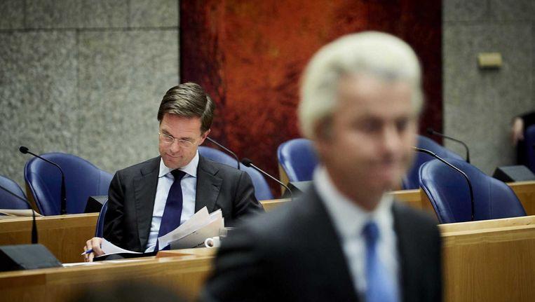 Premier Rutte en PVV-leider Wilders in het debat over de Europese top. Beeld anp