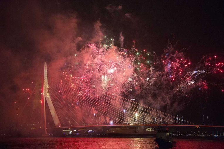 Vuurwerk in Rotterdam. Beeld anp