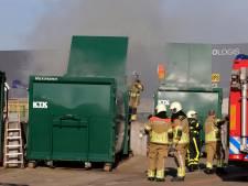 Containerbrand bij de milieustraat in Waalwijk