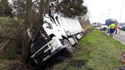 File op E40 richting kust na zwaar ongeval: trucker stapt als bij wonder slechts lichtgewond uit cabine