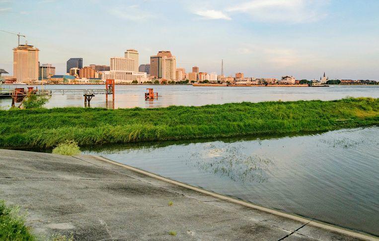 De Mississippi-rivier, net buiten New Orleans.