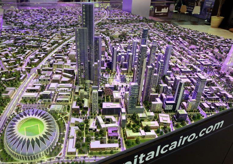 Een schaalmodel van de nieuwe hoofdstad van Egypte. Beeld EPA