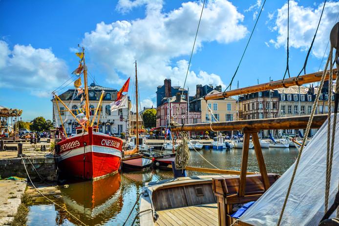 Franse vissersboten in de haven van  Honfleur.