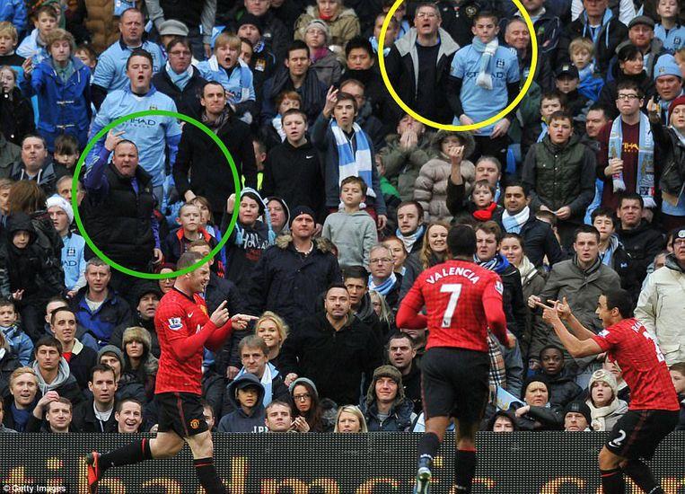 Rooney scoort voor Manchester United in het Emirates vijf jaar geleden. Beeld Getty Images