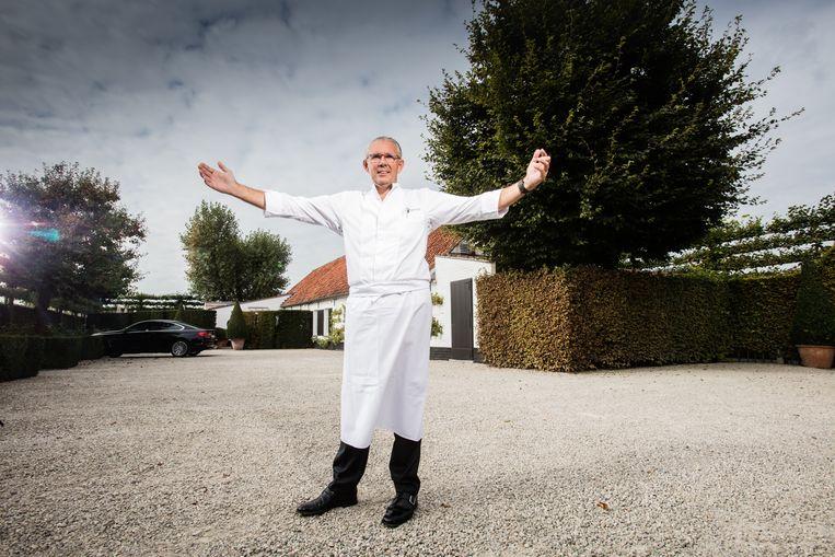 Peter Goossens bij zijn driesterrenrestaurant  Hof van Cleve in Kruishoutem. Beeld rv