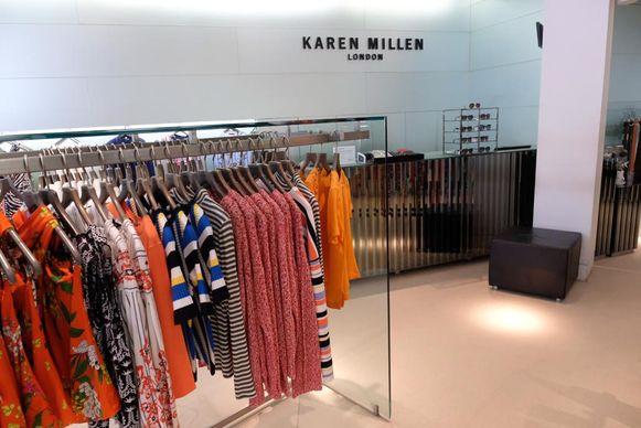 Karen Millen is failliet verklaard. Volgend weekend wordt een grote uitverkoop gehouden