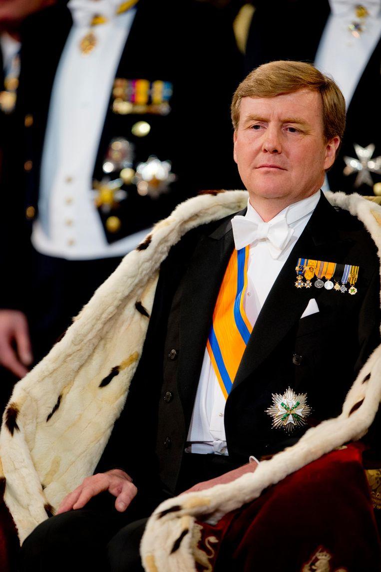 Koning Willem-Alexander tijdens zijn inhuldiging in De Nieuwe Kerk in 2013 Beeld anp
