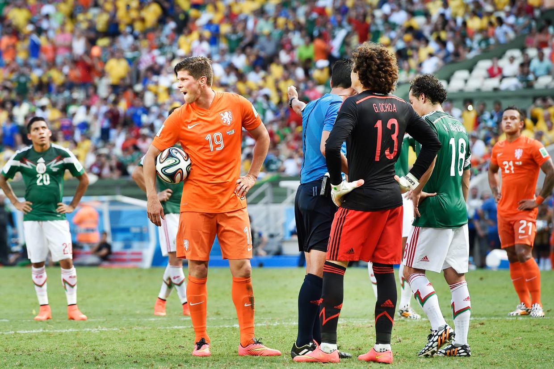 Huntelaar is vaak reserve geweest in het Nederlands elftal. Zijn cijfers in Oranje zijn desondanks geweldig. Beeld Guus Dubbelman / de Volkskrant