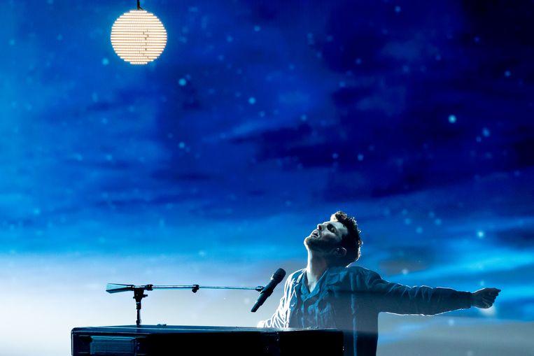 Duncan Laurence tijdens de finale van het Eurovisiesongfestival, 2019 Beeld Getty Images
