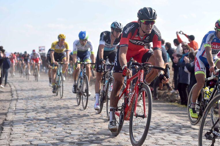 Greg Van Avermaet vorige zondag tijdens Parijs - Roubaix, waar hij derde werd Beeld Tim De Waele