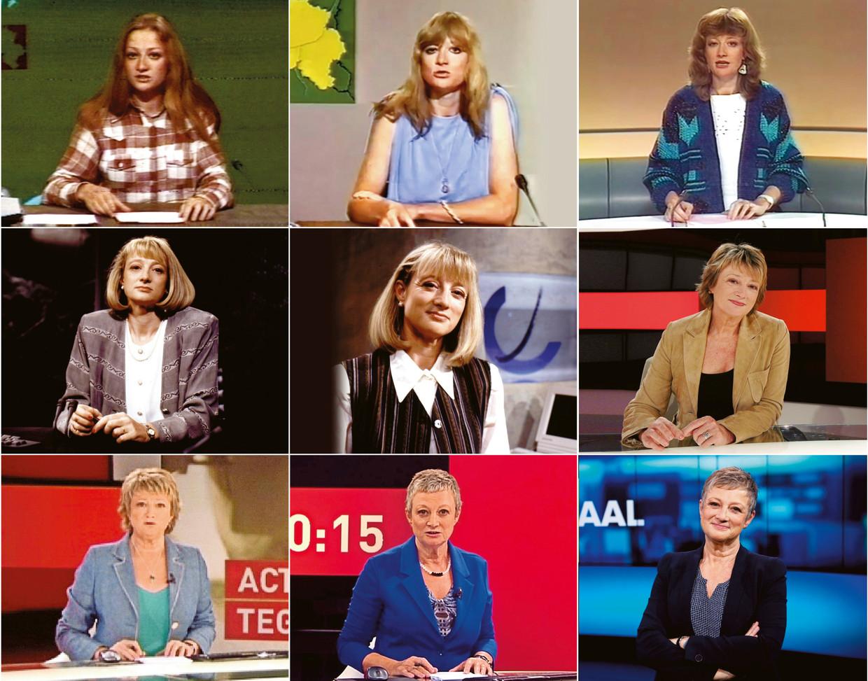Martine Tanghe als nieuwslezeres, van 1978 (linksboven) tot 2020 (rechtsonder). Beeld RV