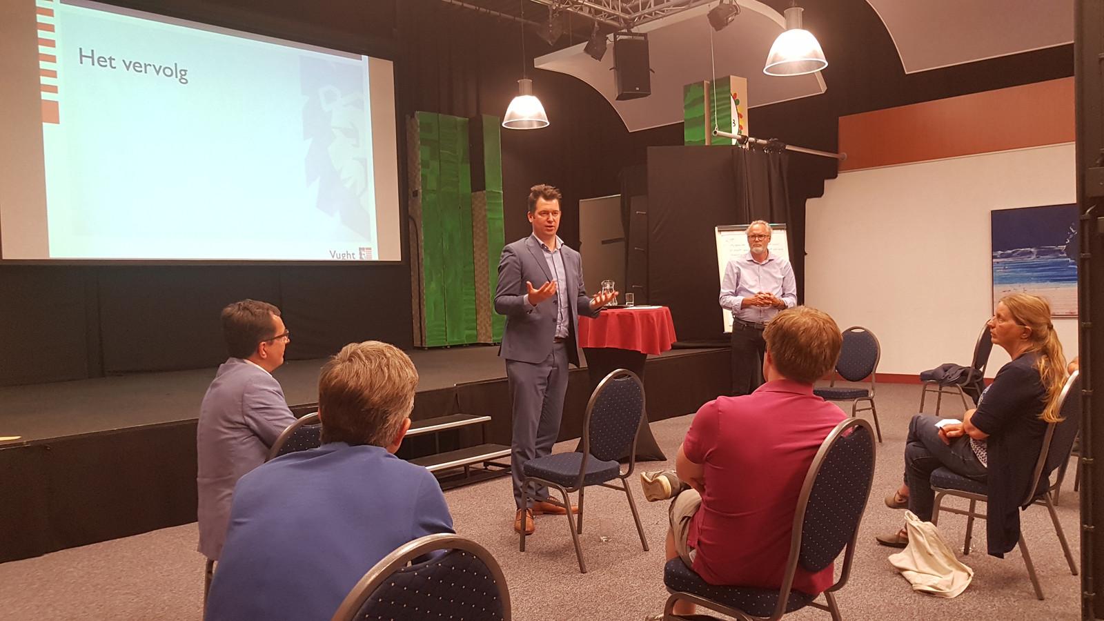 Wethouder Toine van de Ven legt uit waar de molens en/of zonnepanelen mogelijk zouden kunnen komen.