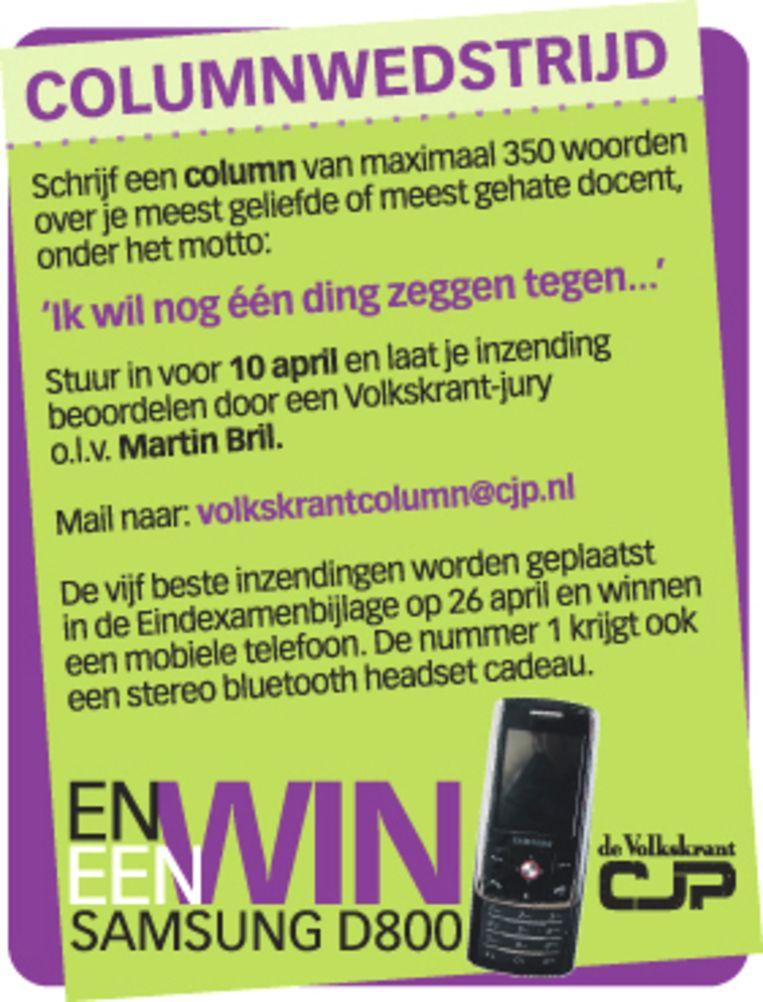 Columnwedstrijd De Volkskrant