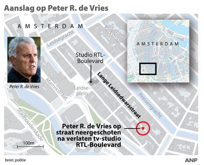 Peter R. de Vries op straat neergeschoten in Amsterdam.