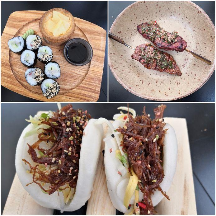 Bovenaan: Sushi uit Japan en Churrasco uit Argentinië. Onderaan: Bao Bun uit China.