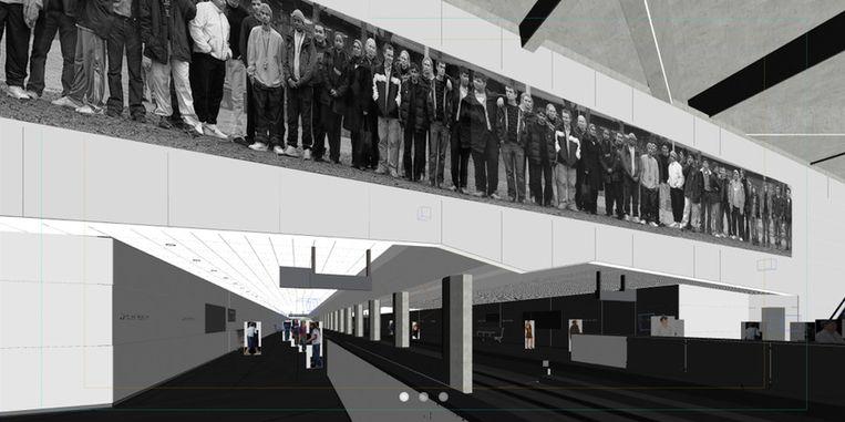 Dit kunstwerk met groepen Amsterdammers komt op CS op de wand boven het spoor Beeld Fiona Tan