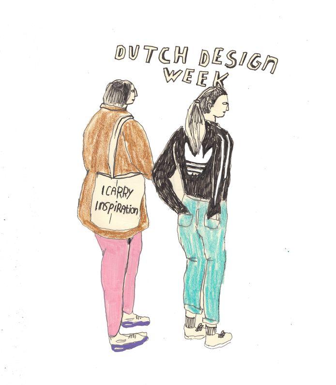 Twee bezoekers die Saskia Jansen aanspraken, de een vanwege de tekst op het tasje en de ander vanwege het Adidasvestje wat me deed denken aan het logo van DDW.