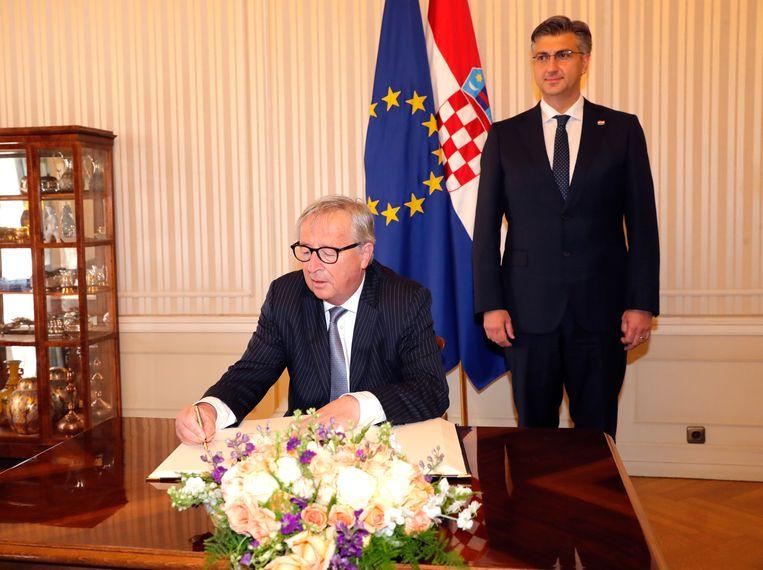 Europees Commissievoorzitter Jean-Claude Juncker en de Kroatische premier Andrej Plenkovic.