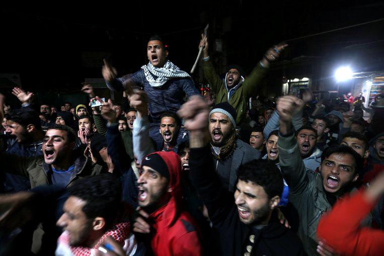 Palestijnen reageren woedend op Trumps beslissing om Jeruzalem te erkennen als de hoofdstad van Israël. Beeld REUTERS