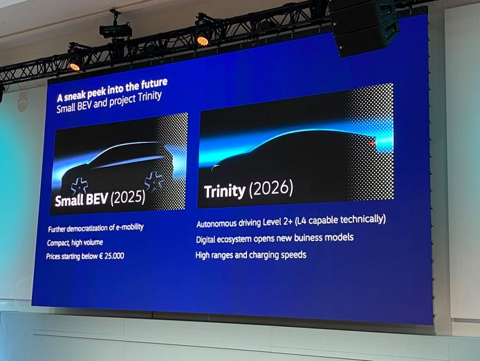 De presentatie van Thomas Ulbrich verklapt twee nieuwe modellen: links de ID.2 (Small BEV, een klein elektrisch voertuig), rechts de luxere 'Project Trinity'.
