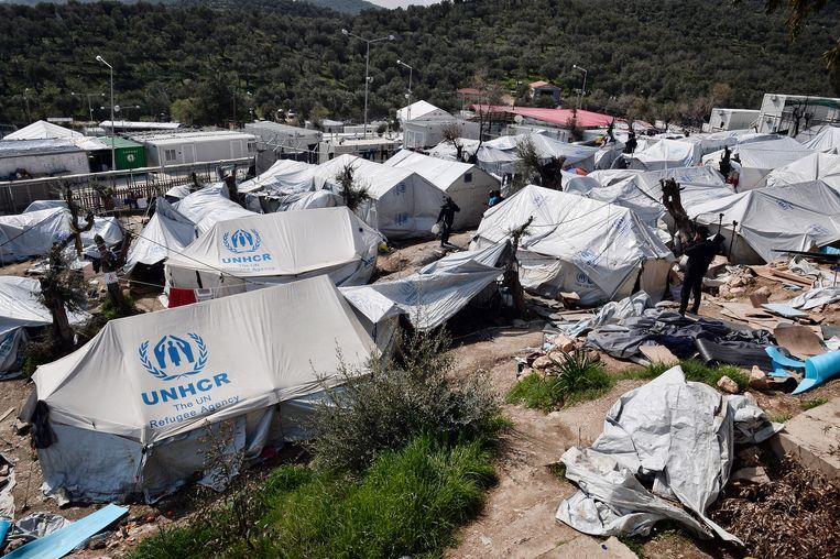 Het vluchtelingenkamp Moria op het Griekse eiland Lesbos. Beeld AFP