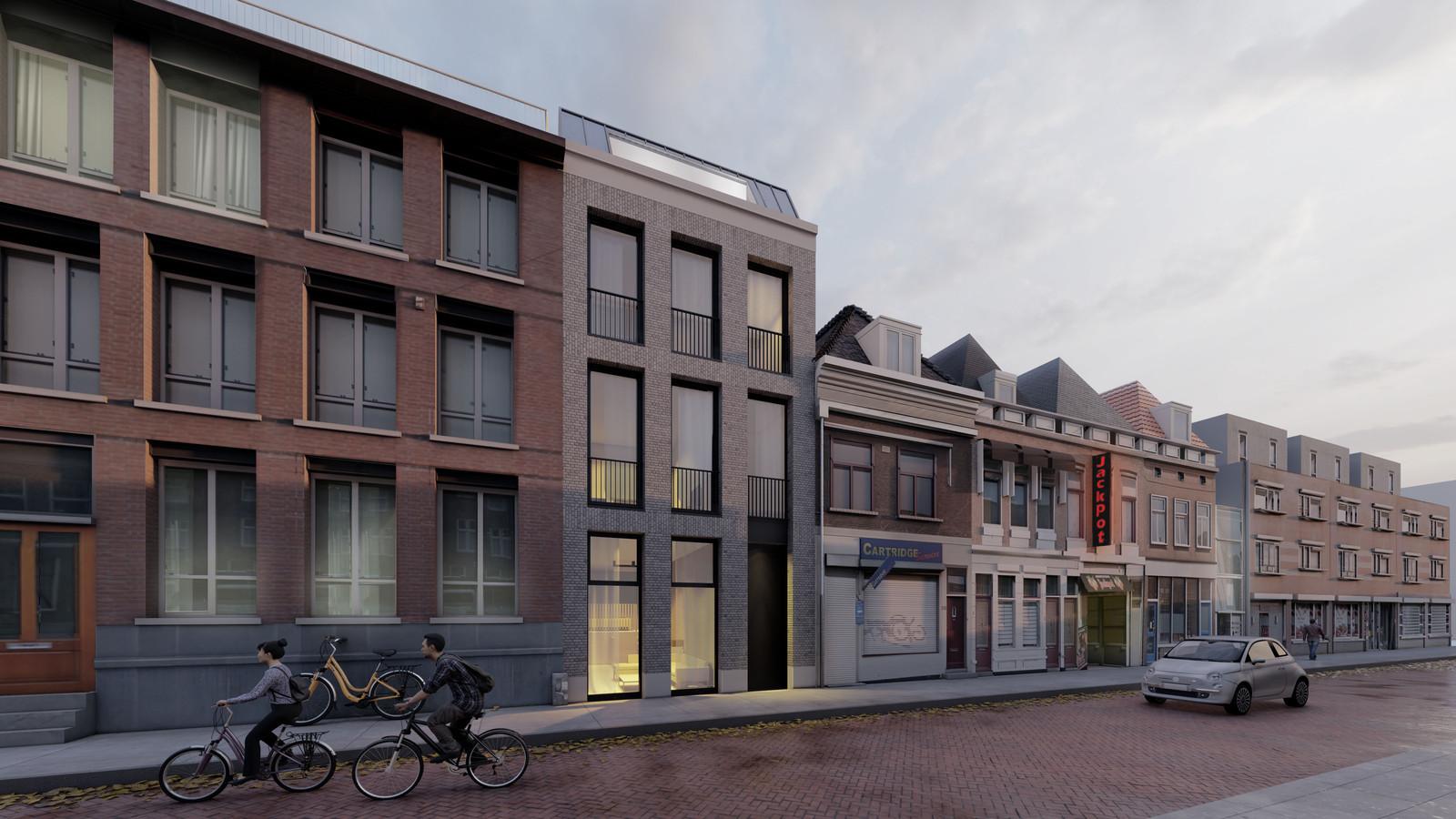 Een impressie van de woningbouwplannen van architectenbureau Studioschaeffer voor het pand aan de Vrieseweg 22 in Dordrecht.