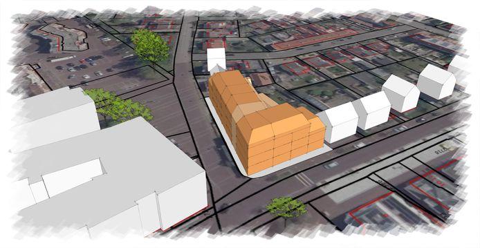 Impressie van het appartementencomplex dat op de plek van het Wapen van Zeddam moet komen.