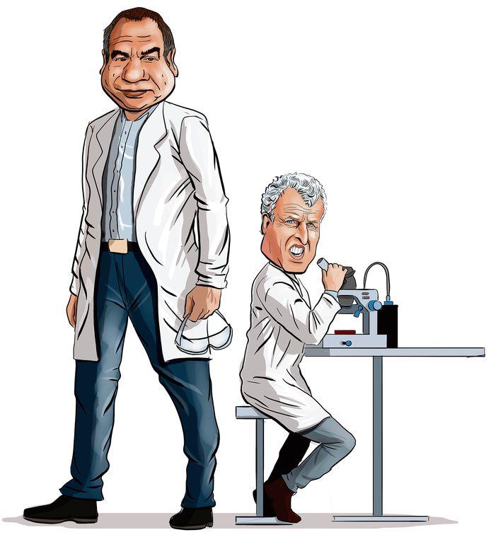 Maurice de Hond en Peter R. de Vries: steeds meer mensen ontpoppen zich als opiniemakers op het terrein van virologie.