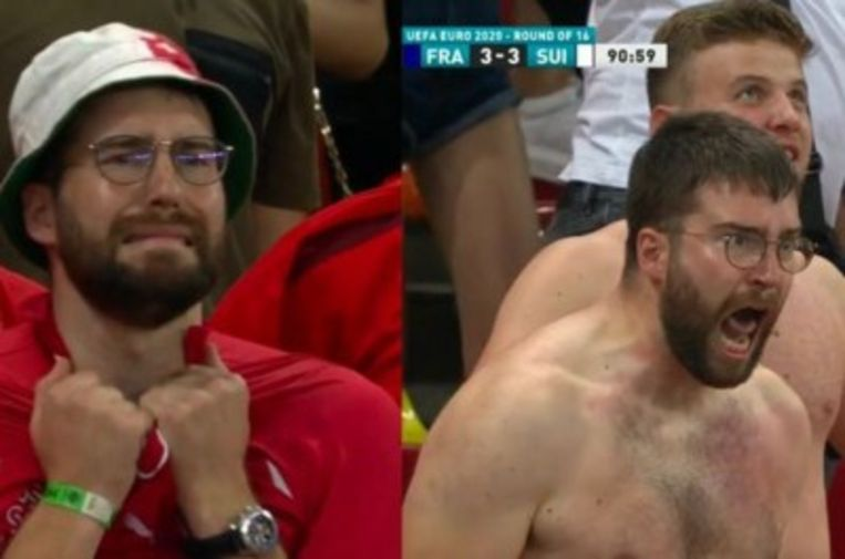 Voor en na: de Zwitserse voetbalfan Luca Loutenbach. Beeld RV