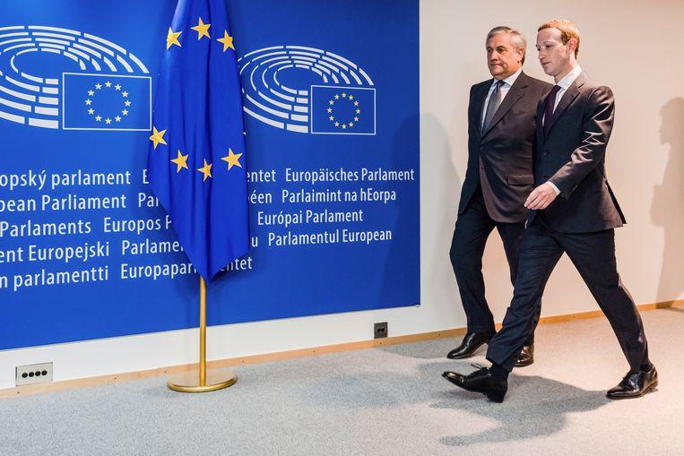 Bijna twee jaar geleden was Zuckerberg al een keer in Brussel, toen werd hij onderworpen aan een hoorzitting in het Europees Parlement.  Beeld AP
