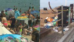 Na de overrompeling: Brits strand lijkt vuilnisbelt