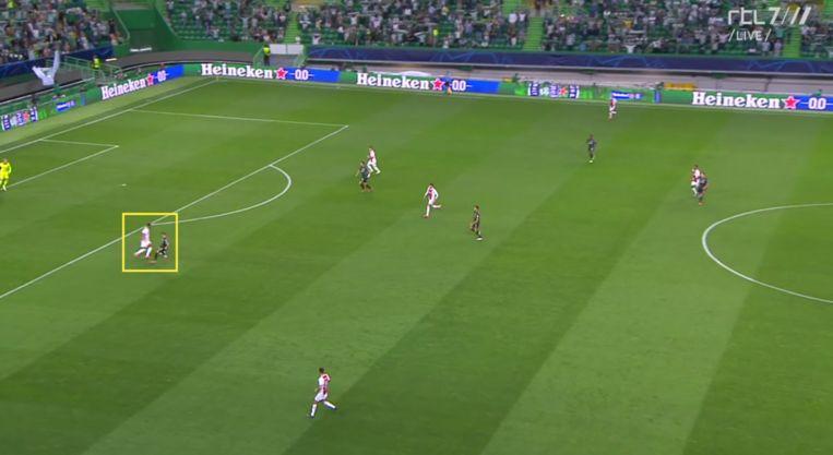 De gewaagde openingsactie van Timber tegen Sporting. Beeld Screenshot RTL7