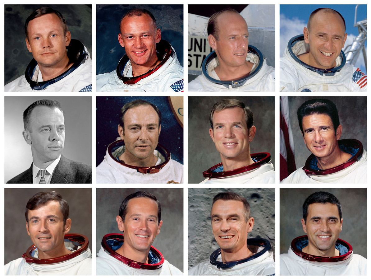 De 12 moonwalkers, met bovenste rij: Neil Armstrong, Edwin 'Buzz'  Aldrin (Apollo 11, 1969), Charles 'Pete' Conrad, Alan L. Bean (Apollo 12, 1969). Midden: Alan Shepard, Edgar D. Mitchell (Apollo 11, 1971), David SCott, James B. Irwin (Apollo 14, 1971). Onderaan: John Young, Charles Moss Duke Jr (Apollo 16, 1972) , Eugene A. Cernan en Harrison 'Jack' Schmitt (Apollo 17, 1972)